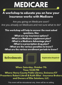 Medicare: A Workshop @ Henry County Public Library | Eminence | Kentucky | United States