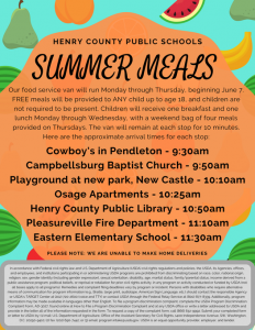 Summer Feeding-FREE LUNCH for children up to age 18